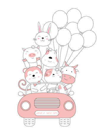 Cartoon sketch the cute baby animals with the car. Hand-drawn style. 向量圖像
