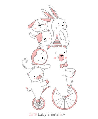 Cartoon sketch the cute baby animal on the vintage bicycle. Hand-drawn style.
