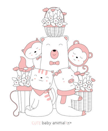 Cartoon sketch the cute baby animal with a flower basket. Hand-drawn style.