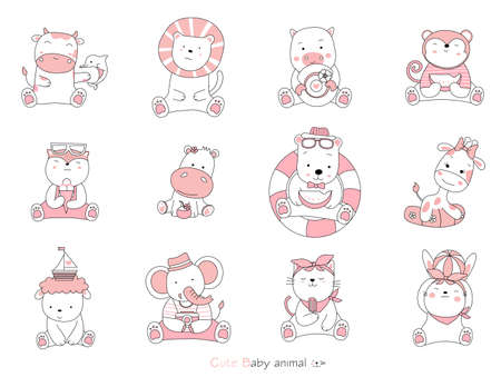 Set cartoon character the lovely baby animals on white background. Hand-drawn style. 向量圖像