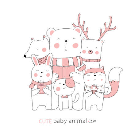 Cartoon sketch the cute baby animal. Hand-drawn style. 向量圖像