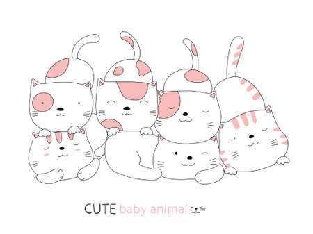 Cartoon sketch the cute cat baby animal. Hand-drawn style.