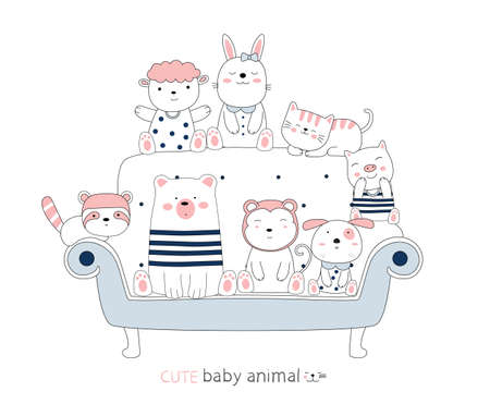 Cartoon sketch the cute baby animal on a blue chair. Hand-drawn style. 向量圖像