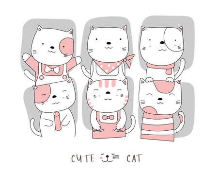 Cartoon character the lovely cat baby animals. Hand drawn style.