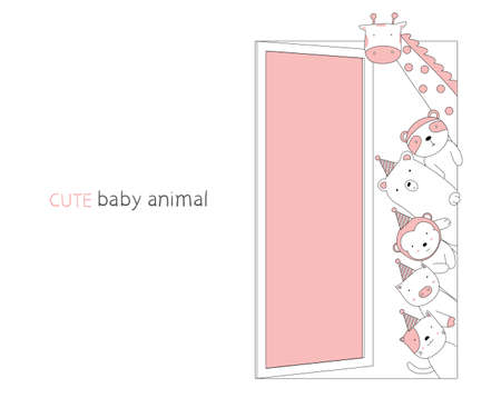 Cartoon sketch the cute baby animal on the door. Hand-drawn style.