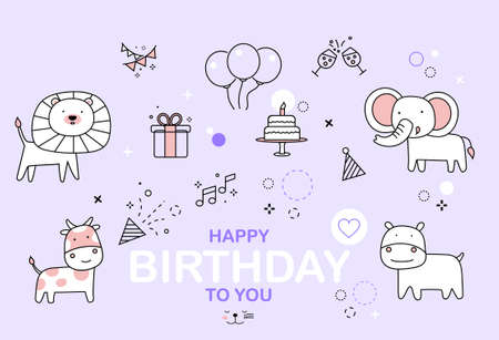 Celebration party card with white cute animal cartoons and elements outline icons. Hand drawn style