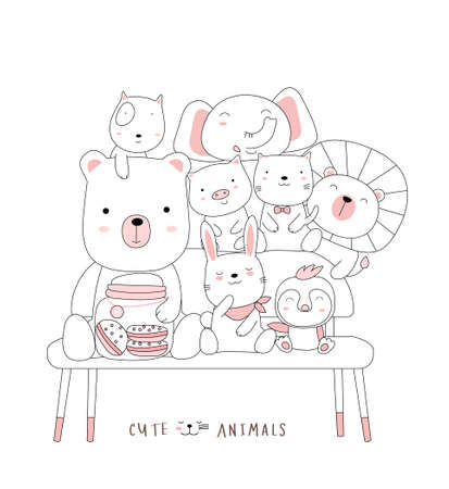 Cartoon sketch the cute baby animal on a chair. Hand-drawn style.