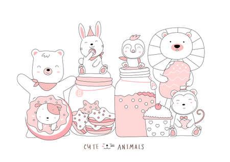 Cartoon sketch the cute baby animal. Hand-drawn style. Illustration