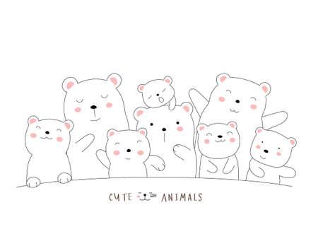 The cute bear animal cartoon on white background. hand drawn style