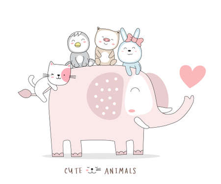 The cute baby elephant animal cartoon with duck, pig and rabbit. hand-drawn style