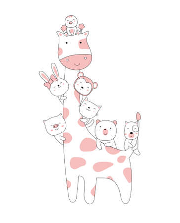 Hand drawn style. Cartoon sketch the cute posture baby animals Illustration