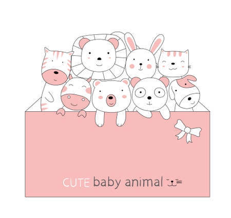 Cartoon sketch the cute baby animal with a pink envelope. Hand-drawn style. Illustration