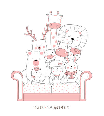 Cartoon sketch the cute cat baby animal on the sofa. Hand-drawn style.