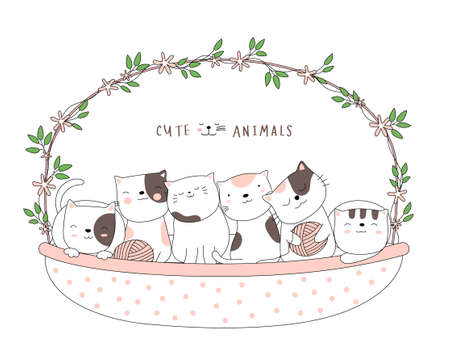 Cartoon sketch the cute baby cat animal with a flower basket. Hand-drawn style. Illustration