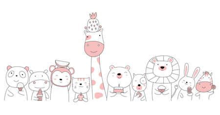 Hand drawn style white cute animal cartoon