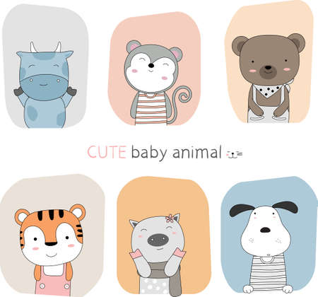 Hand drawn style. Cartoon sketch the cute posture baby animal with frame color background Illustration