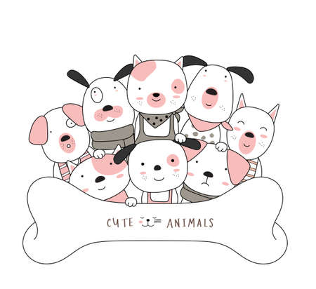 The cute dog animal cartoon on white background. hand drawn style Illustration