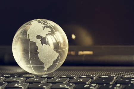 Crystal globe.Communication network around Earth used for worldwide international connections.