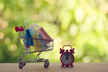 Red analog clock with shopping cart or a supermarket shopping basket and shopping bag on wood table. Fast delivery, time value of money concept : depicts the time is of the essence in our daily life.