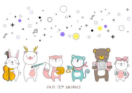 Cartoon sketch the cute baby animal. hand drawn style. Illustration