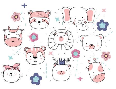 Adorable animals illustration on white background. hand drawn style