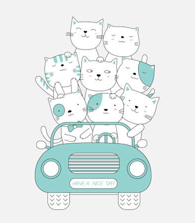 Cartoon sketch the cat cute baby animals with the pink car. hand-drawn style