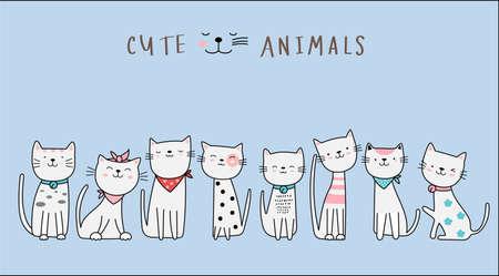 Hand drawn style. Cute cat animal cartoon Illustration