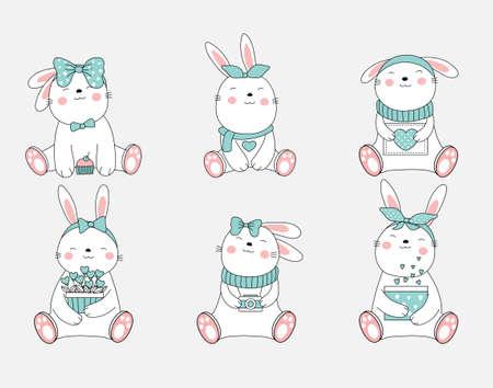 The cute rabbit animal cartoon. hand drawn style Illustration
