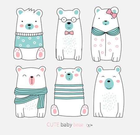 The cute bear animal cartoon. hand drawn style