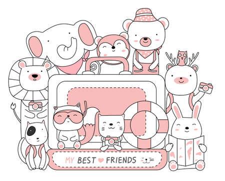 Cute animals illustration on white background. hand drawn style Illustration