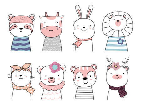 Set cartoon character the lovely baby animals on white background. hand drawn style.