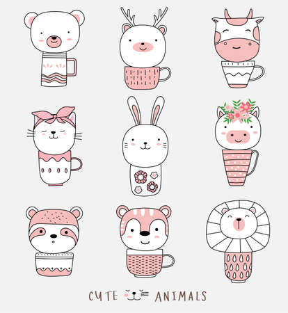 Cartoon sketch cute baby animal with cup Illustration