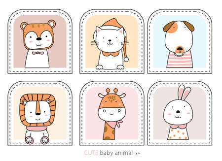 Cartoon sketch the cute animals. Hand drawn style.