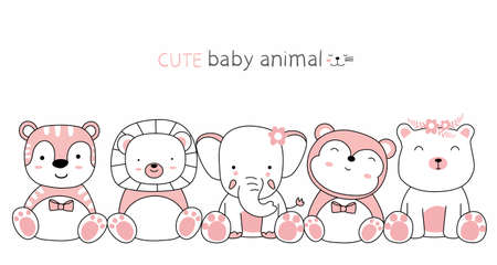Cartoon sketch the cute animals with friends. Hand drawn style.