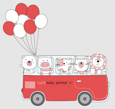 Cartoon sketch the cute animals on red car bus with balloon. Hand drawn style. Illustration