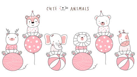 Cartoon sketch the cute animals with balloon. Hand drawn style.