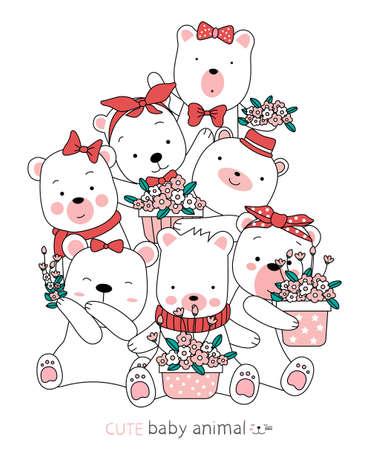 Cartoon sketch the cute bear animals. Hand drawn style.