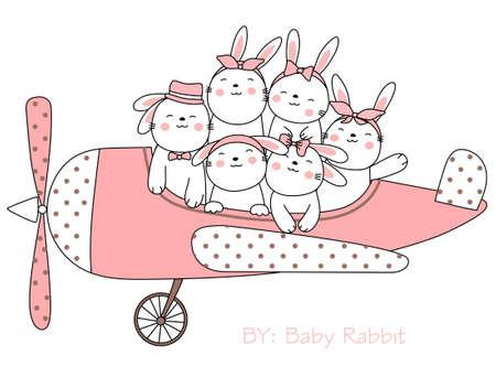 Cute rabbit cartoon sketch animal