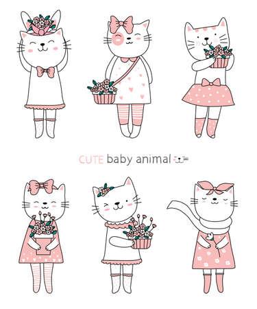 Cartoon sketch the cute cat baby animals. Hand drawn style.