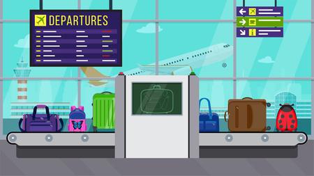 Ilustración vectorial: seguridad aeroportuaria. Escáner de rayos X para equipaje. Facturación de equipaje dentro del aeropuerto. Comprobación del contenido del equipaje. Varias bolsas en cinturón.