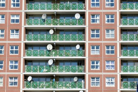 satelite: Satelite dishes on an appartment building