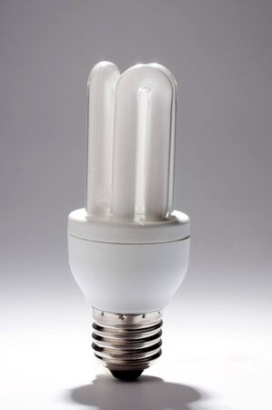 an energy saving  light bulb against a white background