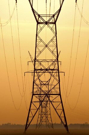 Lined up powerlines at sunset with upcoming mist.