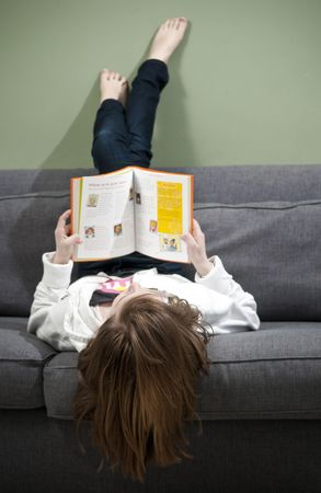 A young girl reading a book at home. Stock Photo