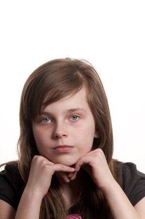 portrait of a young girl looking sad