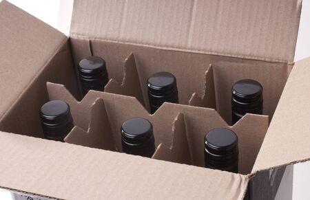 Wine bottles in a cardbord box Stock Photo