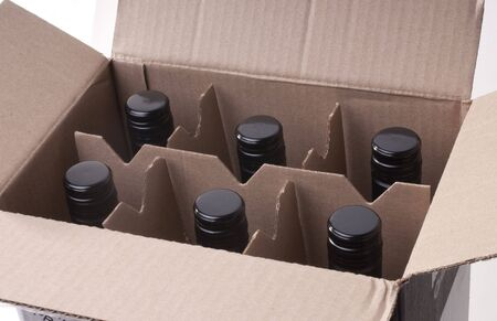 Wine bottles in a cardbord box Stock Photo