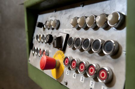 Powerswitches of a conveyerbelt in a sawmill Stock Photo