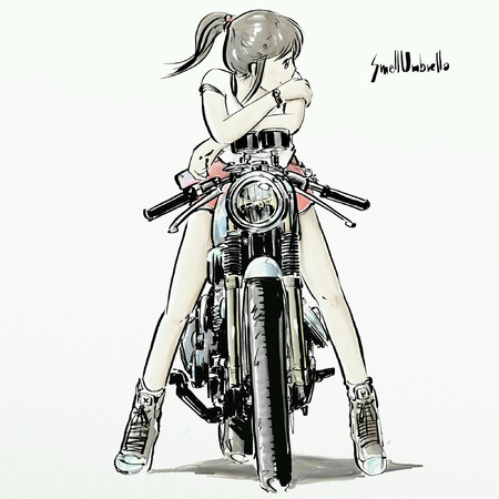 pants: Girl waiting someone on her motorcycle