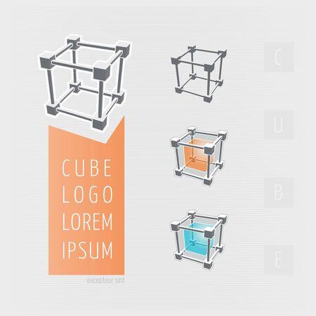 Cube skeleton, illustration Иллюстрация